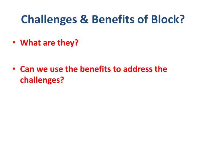 Challenges & Benefits of Block?