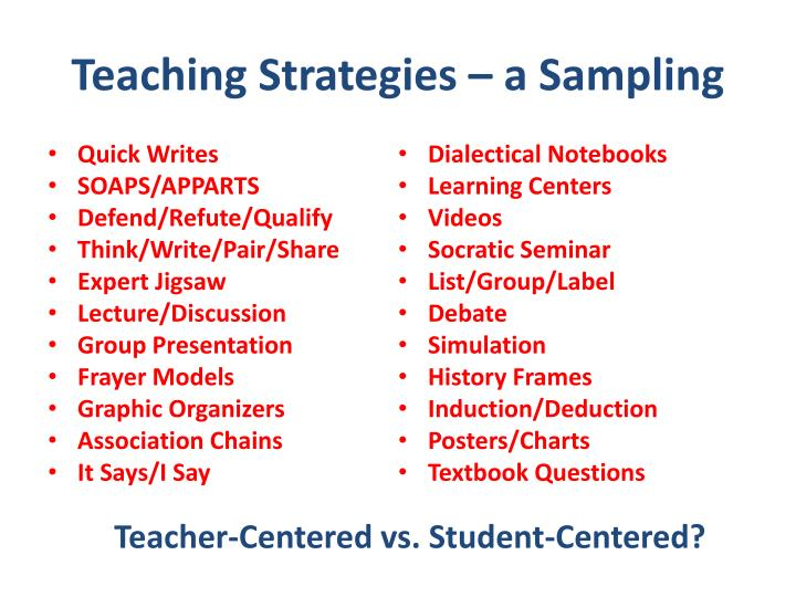 Teaching Strategies – a Sampling