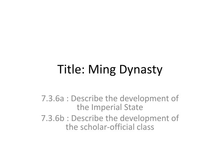 Title: Ming Dynasty