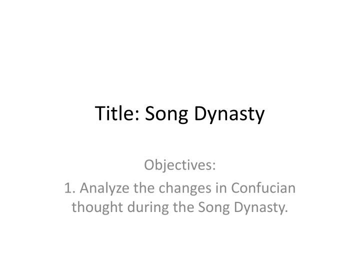 Title: Song Dynasty