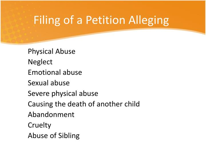 Filing of a Petition Alleging