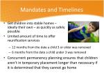 mandates and timelines