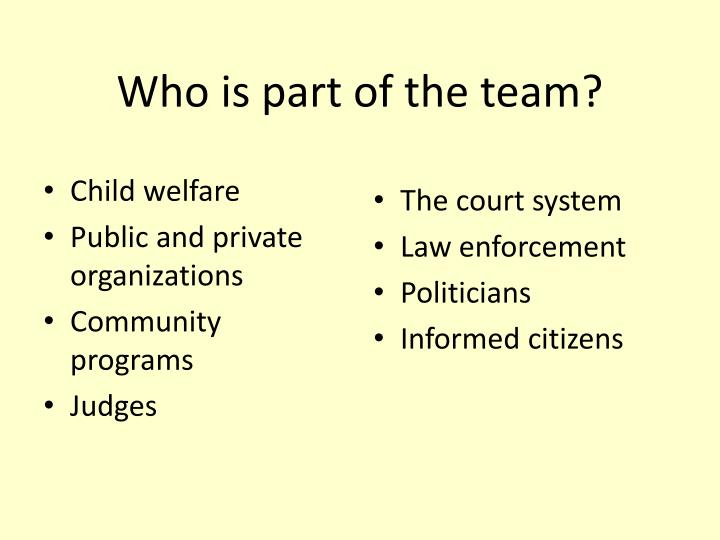 Who is part of the team?