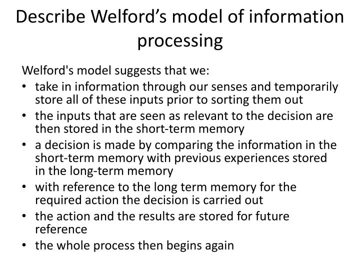 Describe Welford's model of information processing