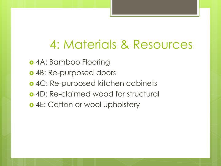 4: Materials & Resources