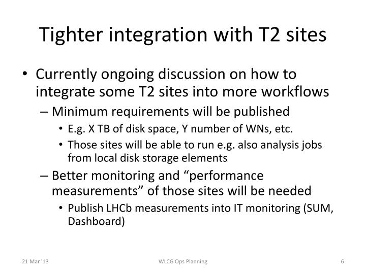 Tighter integration with T2 sites