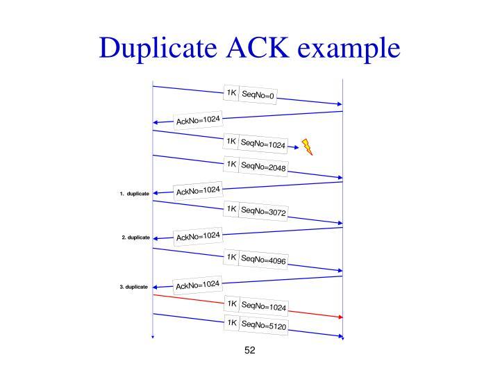 Duplicate ACK example