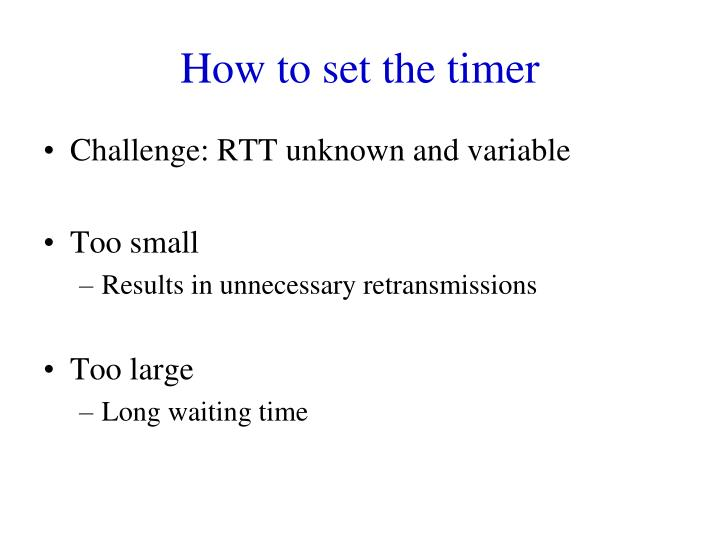 How to set the timer