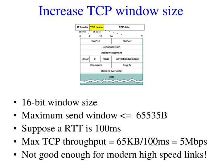 Increase TCP window size