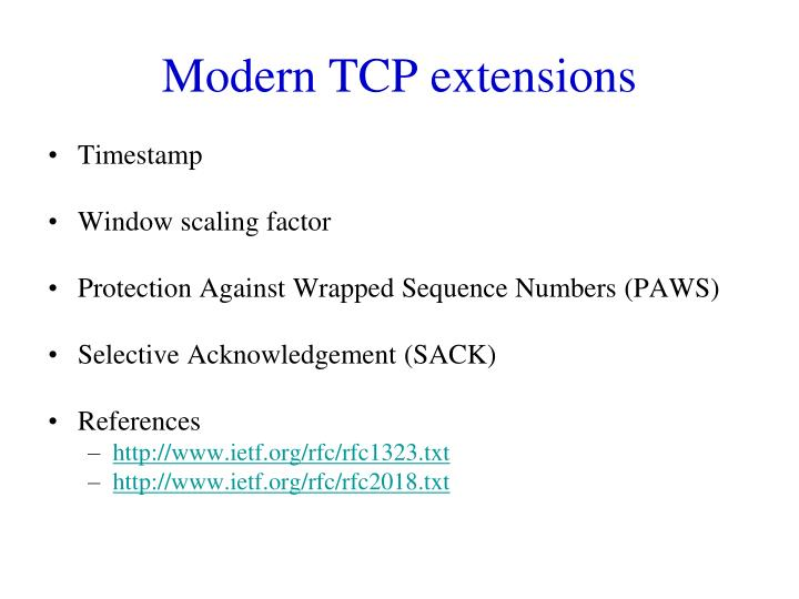 Modern TCP extensions