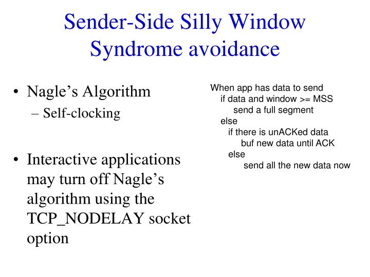 Sender-Side Silly Window Syndrome avoidance
