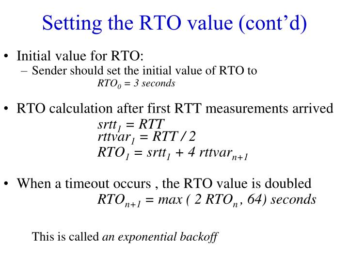 Setting the RTO value (cont'd)