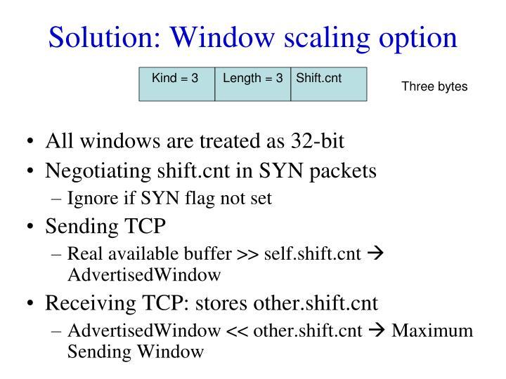 Solution: Window scaling option