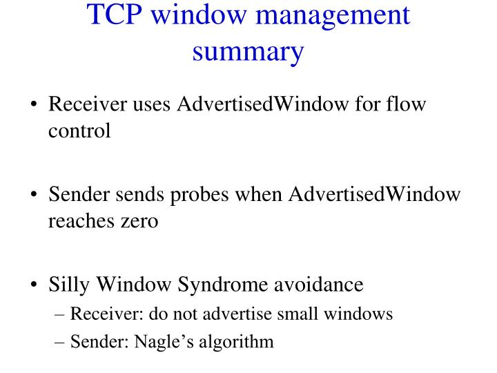 TCP window management summary