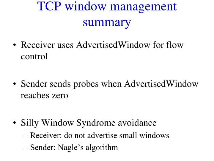 TCP window management summary