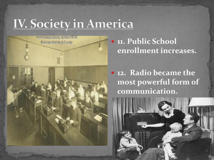 IV. Society in America