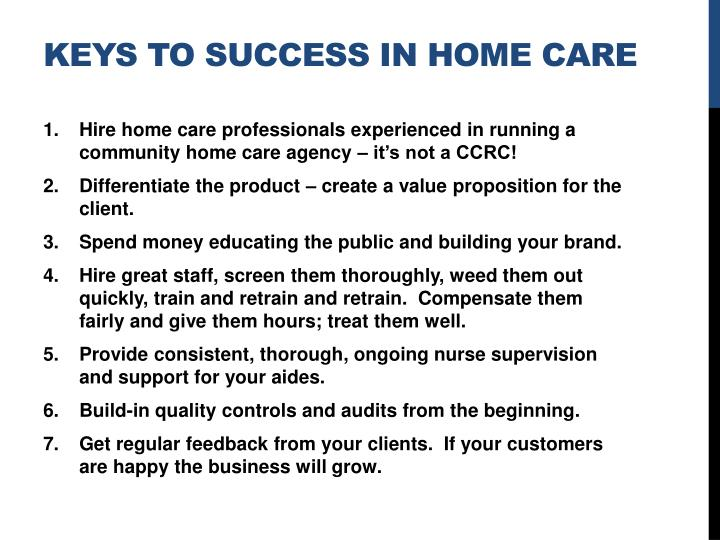 Keys to success in Home care