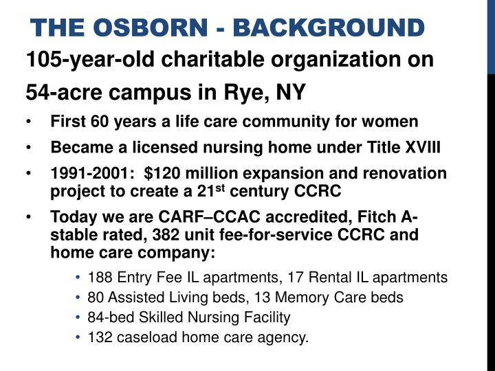 The Osborn - Background