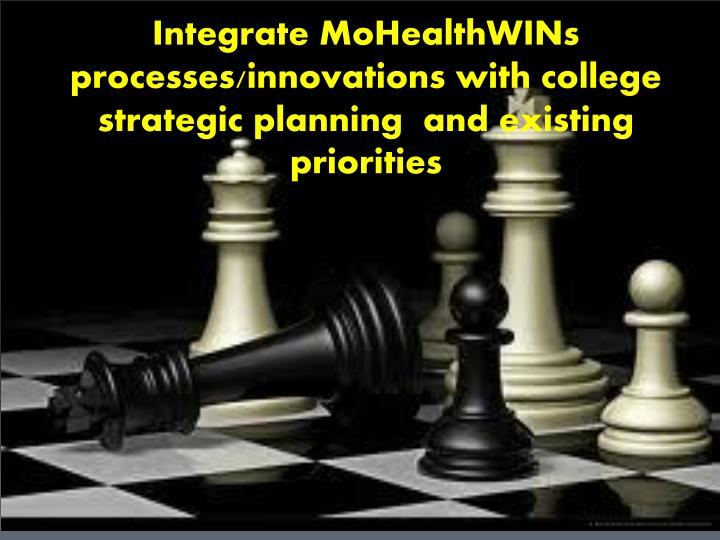 Integrate MoHealthWINs processes/innovations with college strategic planning  and existing priorities