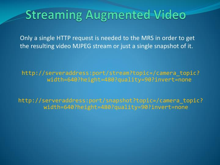 Streaming Augmented Video