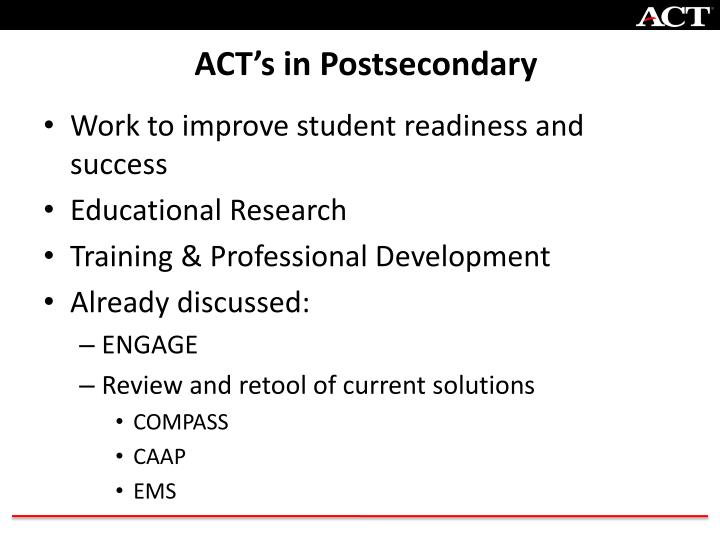 Act s in postsecondary