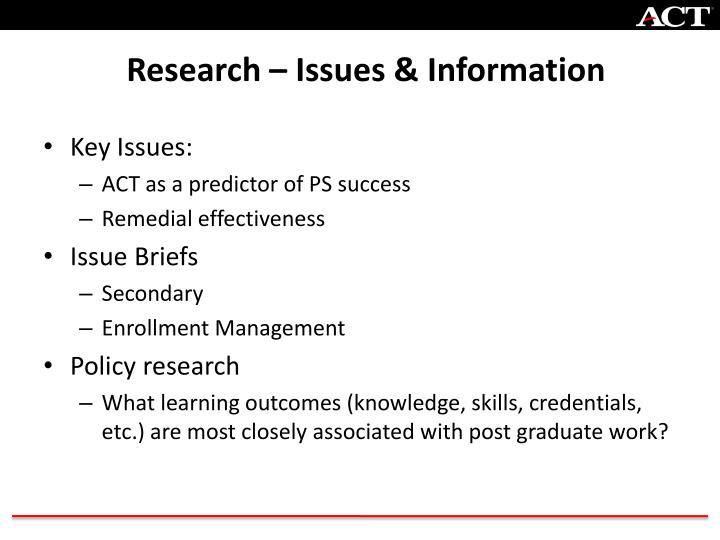 Research – Issues & Information