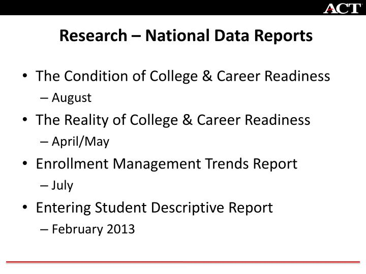 Research – National Data Reports