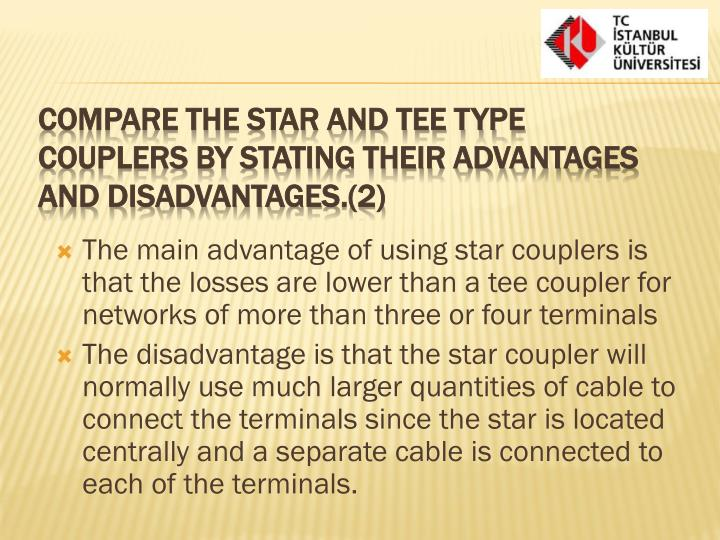 The main advantage of using star couplers is that the losses are lower than a tee coupler for networks of more than three or four