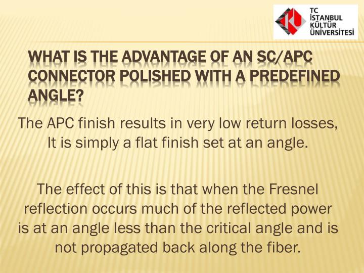 The APC finish results in very low return losses, It is simply a flat finish set at an