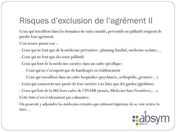 Risques d'exclusion de