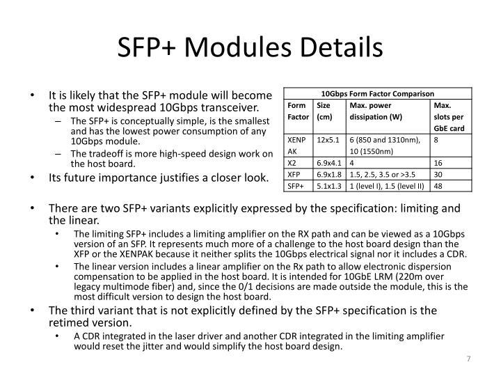 SFP+ Modules Details