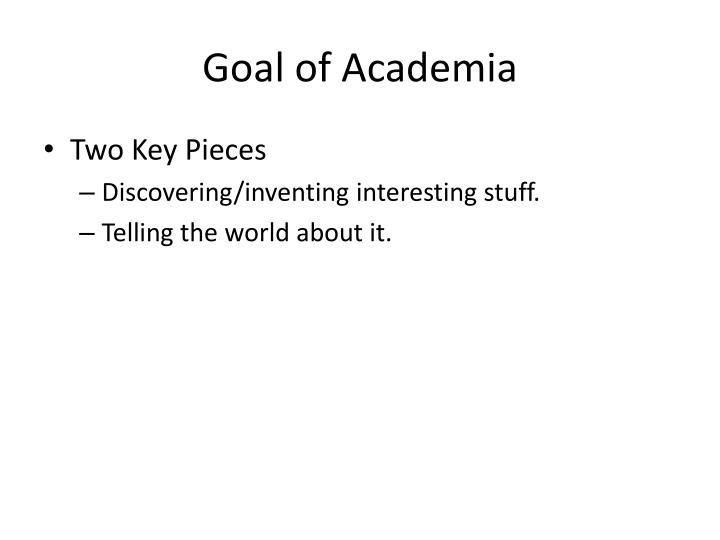 Goal of Academia