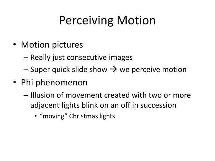Perceiving Motion