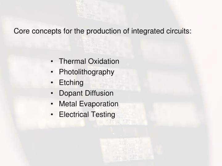 Core concepts for the production of integrated circuits:
