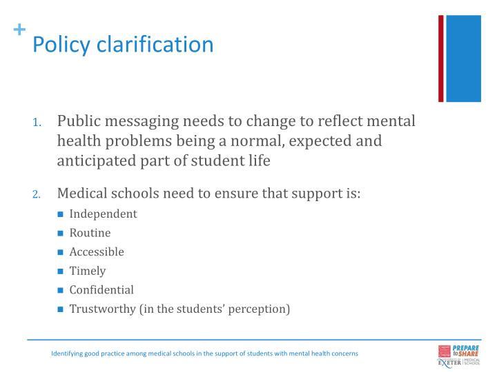 Policy clarification