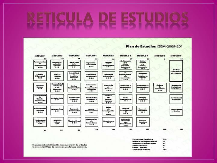 RETICULA DE ESTUDIOS