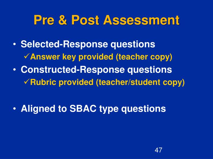 Pre & Post Assessment