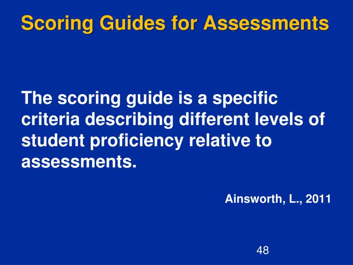Scoring Guides for Assessments