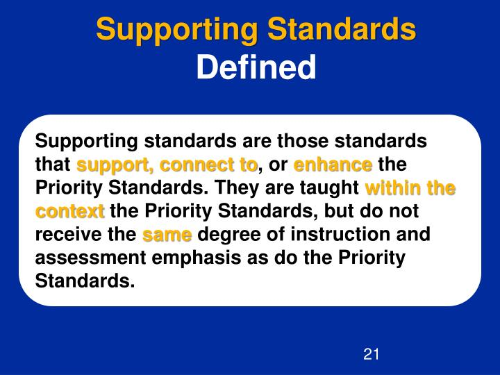 Supporting Standards