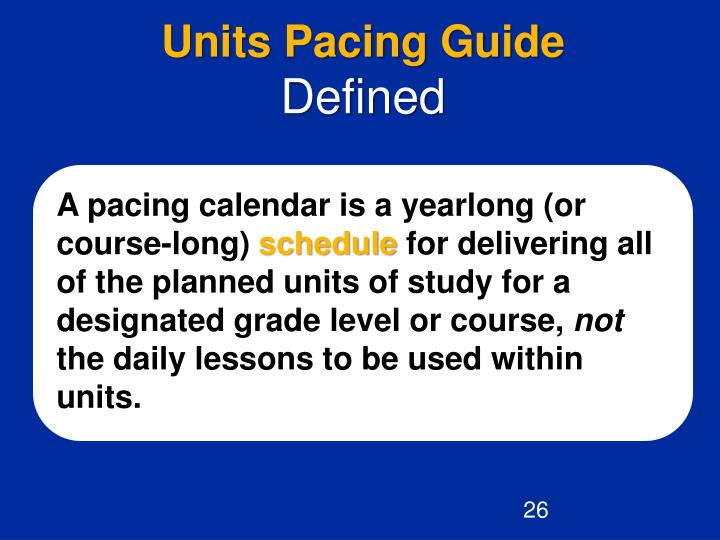 Units Pacing Guide