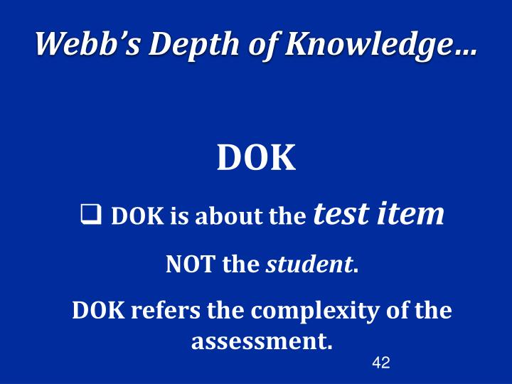 Webb's Depth of Knowledge…