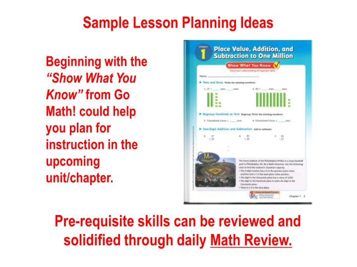 Sample Lesson Planning Ideas