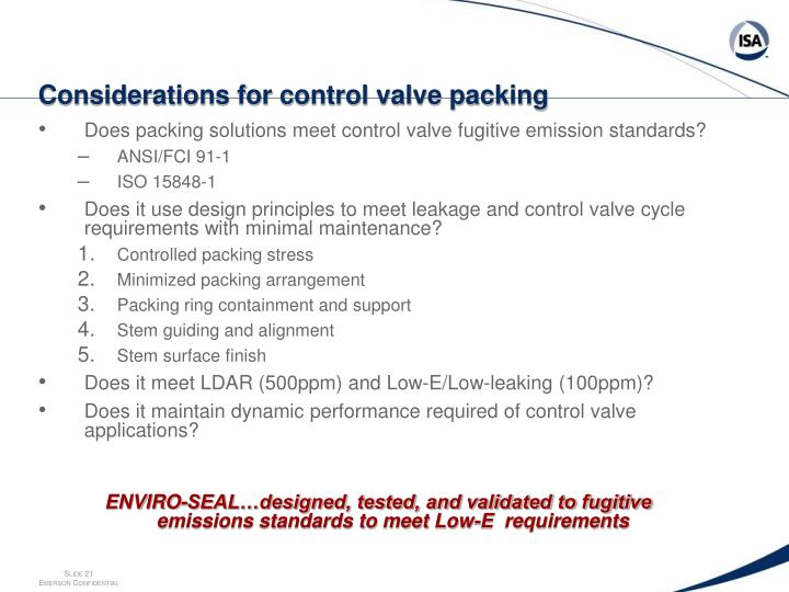 Considerations for control valve packing
