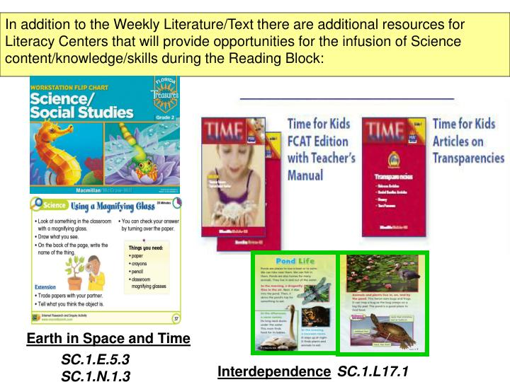 In addition to the Weekly Literature/Text there are additional resources for Literacy Centers that will provide opportunities for the infusion of Science content/knowledge/skills during the Reading Block: