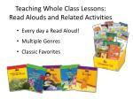 teaching whole class lessons read alouds and related activities