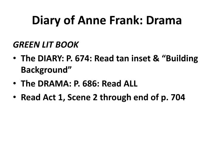 Diary of Anne Frank: Drama