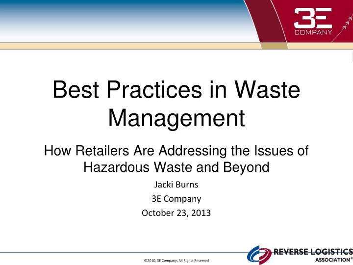 Best Practices in Waste Management