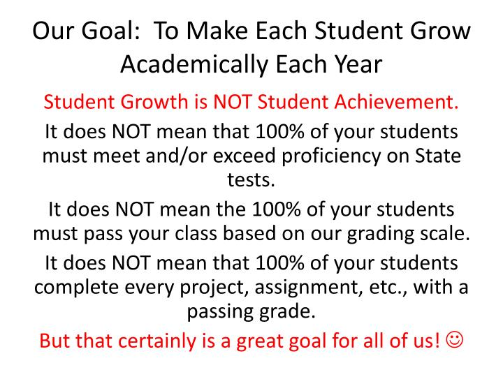 Our Goal:  To Make Each Student Grow Academically Each Year