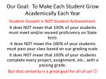 our goal to make each student grow academically each year