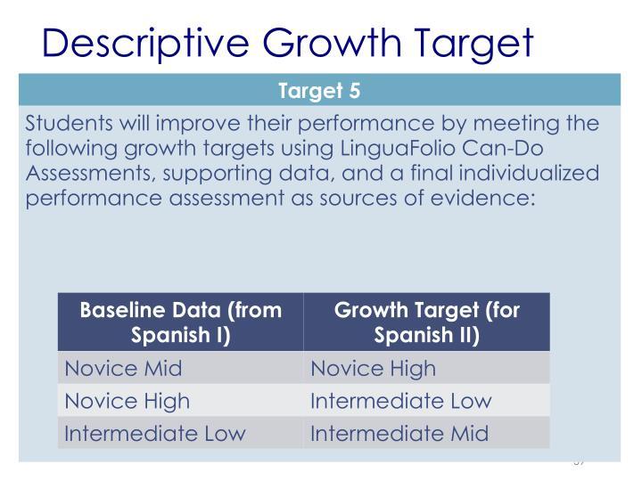 Descriptive Growth Target